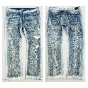 New ROBIN'S JEAN sz 44 Crackle Denim Straight Jean